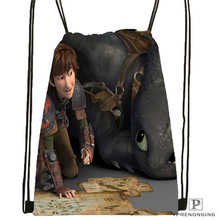 Custom how_to_train_your_dragon Drawstring Backpack Bag Cute Daypack Kids Satchel (Black Back) 31x40cm#180611-03-134