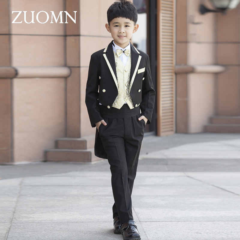 Children's Costume For Boys Blazers Kids Child Tuxedo Costumes Black Boy Suit Formal Wedding Clothes Party Suits GH324 high quality school uniform new fashion baby boys kids blazers boy suit for weddings prom formal gray dress wedding boy suits