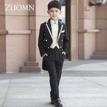 Children's Costume For Boys Blazers Kids Child Tuxedo Costumes Black Boy Suit Formal Wedding Clothes Party Suits GH324 page boy 3 piece suits new design black velvet wedding tuxedo party child suits