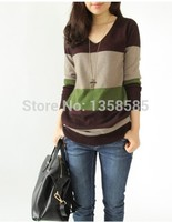 HOT SALE 2014 New Fashion Winter Wool Cashmere Long Women Dress Knitted Pullovers Tops V Neck
