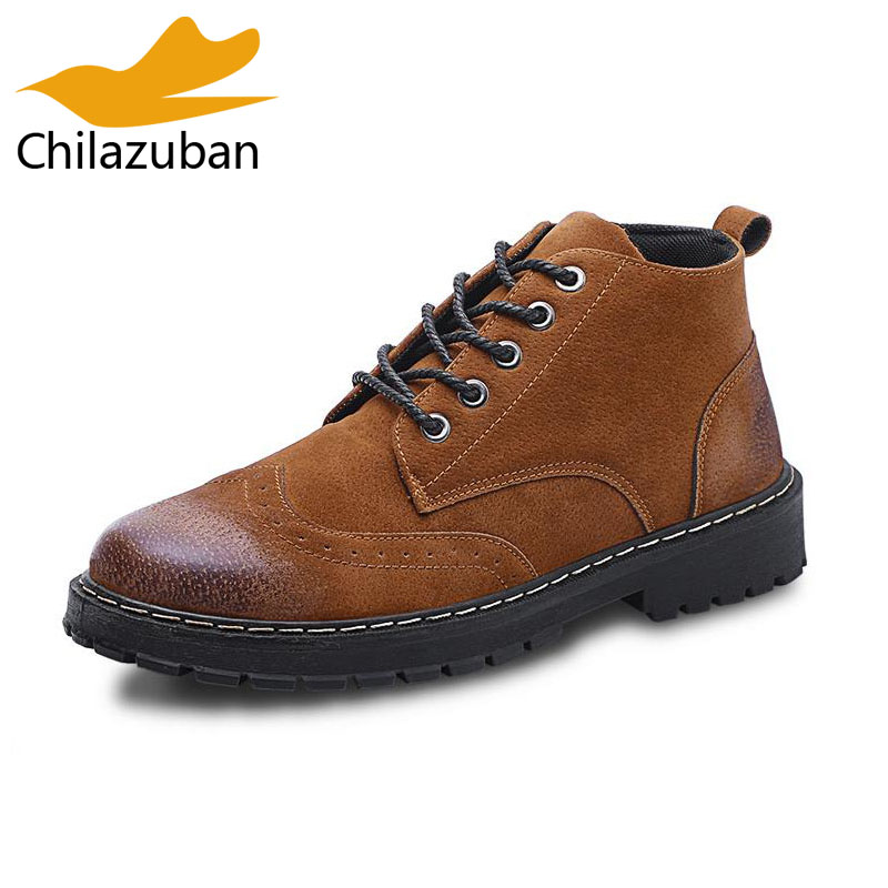 Chilazuban Fashion Men Ankle Boots Lace Up Round Toe Handmade Brogue Shoes Autumn Winter Warm Brand Male Footwear Size 39-44