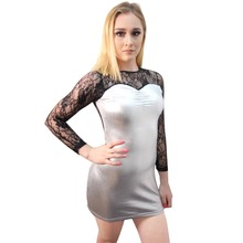 Sexy Bodycon Clubwear Black Floral Lace Patchwork Silver Shiny Metallic Faux Leather Bandage Dress Women Night Club Party