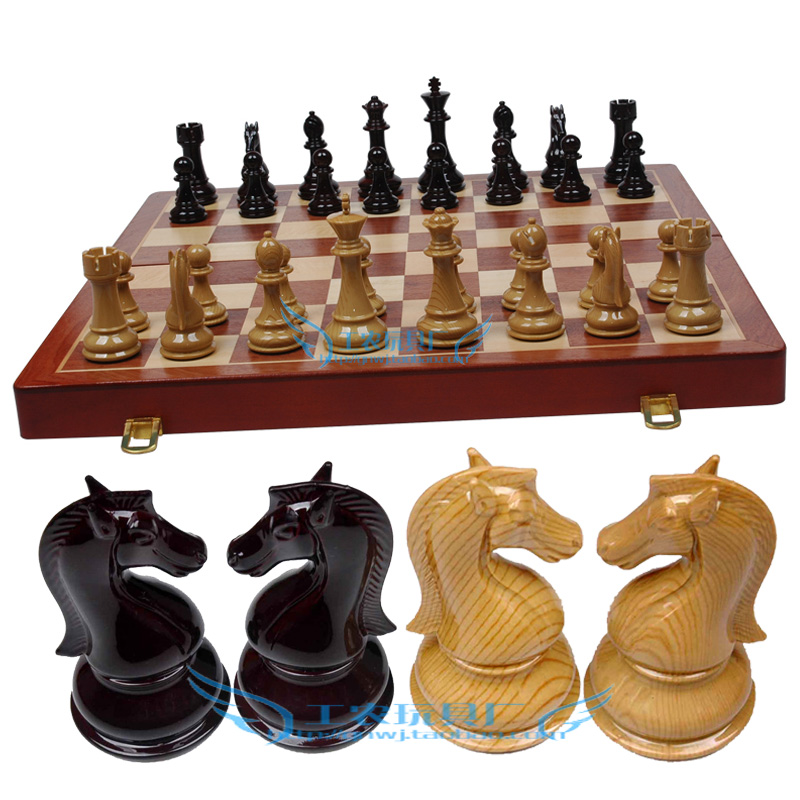 Extra Large Wooden Chessboard Stereo Metal Chess Pieces In