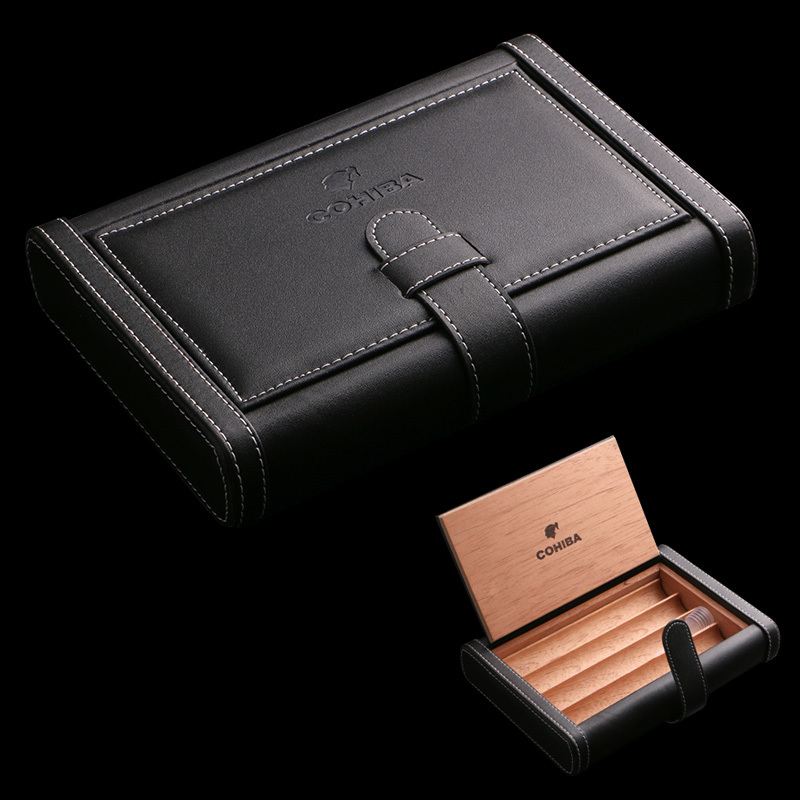 luxury cohiba hold 4pcs portable leather cigar bag cigar humidor