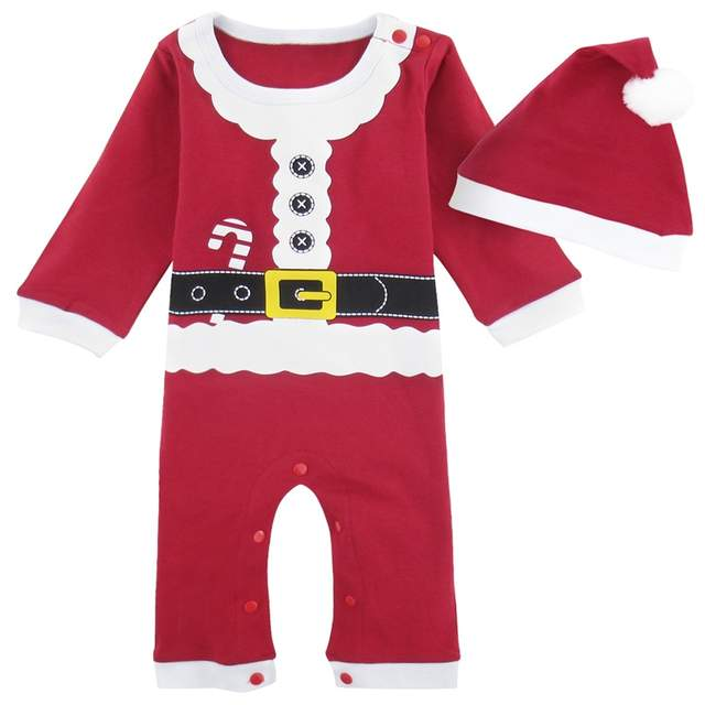 12e30fe40920 Baby Boys Girls Christmas Costume with Hat Newborn Santa Claus Romper  Jumpsuit Infant Xmas Snowman Outfit Playsuit One Pieces