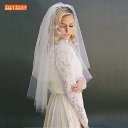 Модные белые короткая свадебная вуаль два слои 75 см с combe цвета слоновой кости Фата для Свадебная вечеринка Тюль veiling Новое поступление 2019