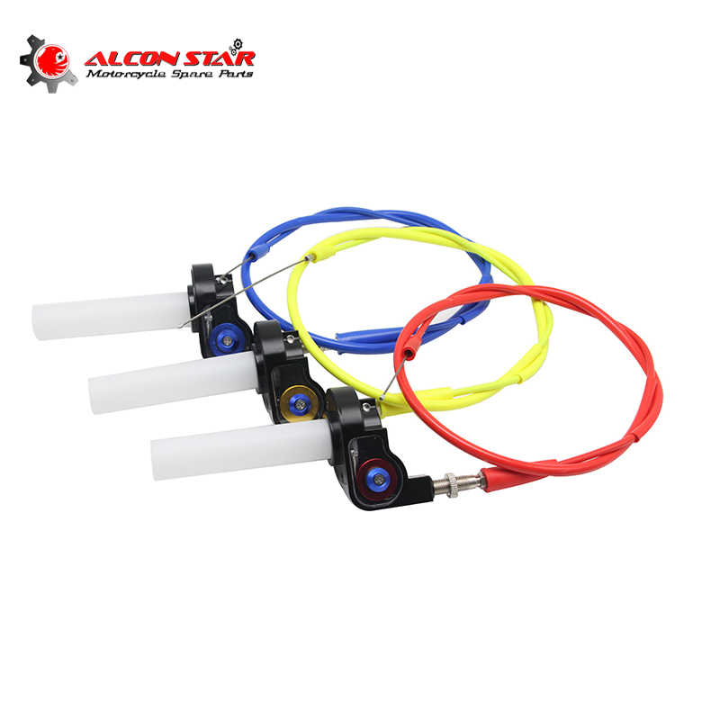 Alconstar- Motorcycle Visual Throttle Grips with Cable Settle & Twist Gas Throttle Handle Dirt Bikes ATV 50cc- 160cc KLX CRF 230