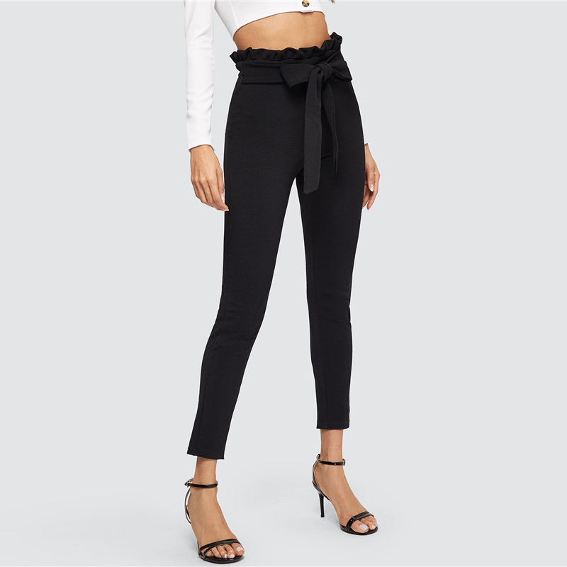 SHEIN Elegant Paperbag Waist Belted Detail Solid High Waist Pants Women Skinny Frill Trim Elastic Waist Spring Summer Pants 18