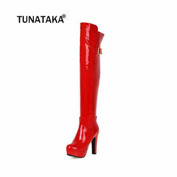 Women Over the Knee Boots Sexy Patent Leather Thigh Boots Square High Heel Nightclub Fashion Ladies Shoes Red Black Size 43 2018