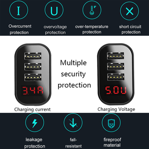 Image 4 - Baseus 3.4A LED Display USB Phone Charger For iPhone Samsung Mobile Wall Charger 3 USB Ports Charger For Xiaomi OnePlus Huawei