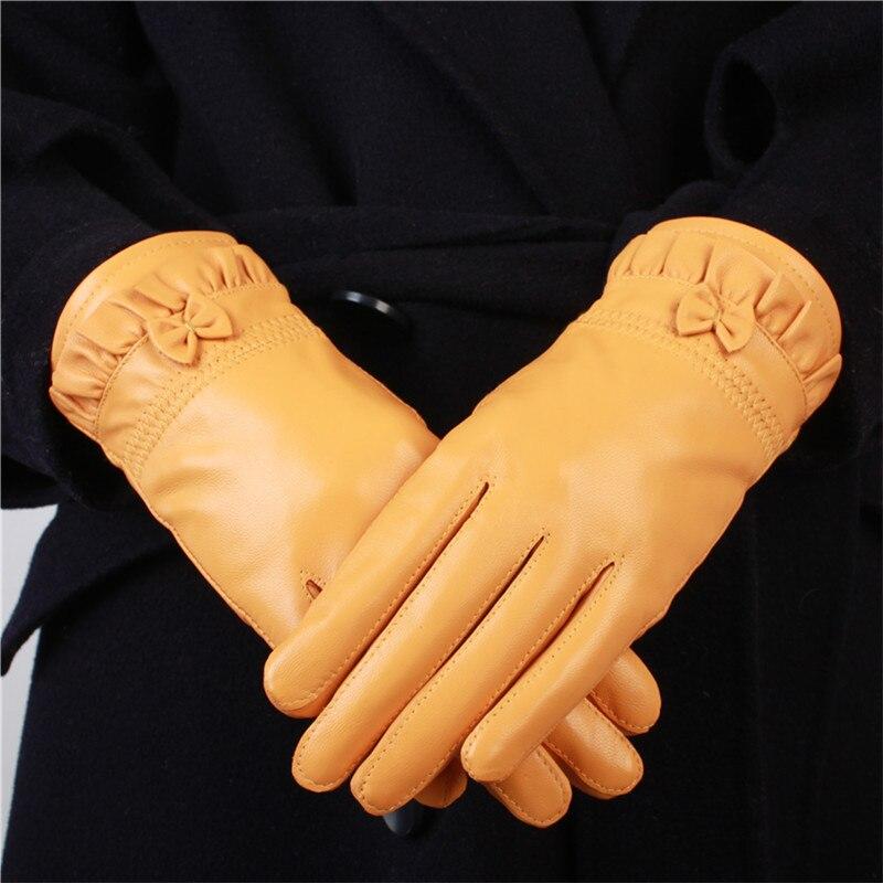 Yellow Lady Genuine Leather Gloves Thicken Warm Autumn Winter Women's Mittens Korean Bowknot Elegant Fashion Hand Muff H3207