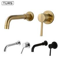 Wall Mounted Contemporary Bathroom Accessories Solid Brass Black Faucet Bathroom Sink Faucet Cocina Bathroom Faucet Chrome