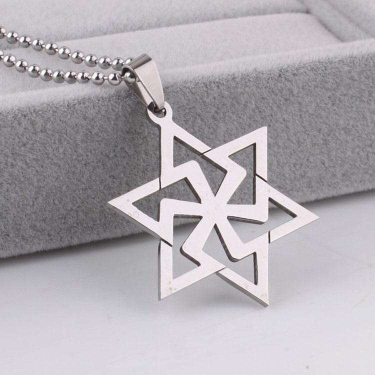 H+C Pendentif Pentagramme avec 60CM Cha/îne de Boule Argent noir deux tons Unisex Pendentif Collier Homme Femmes Acier