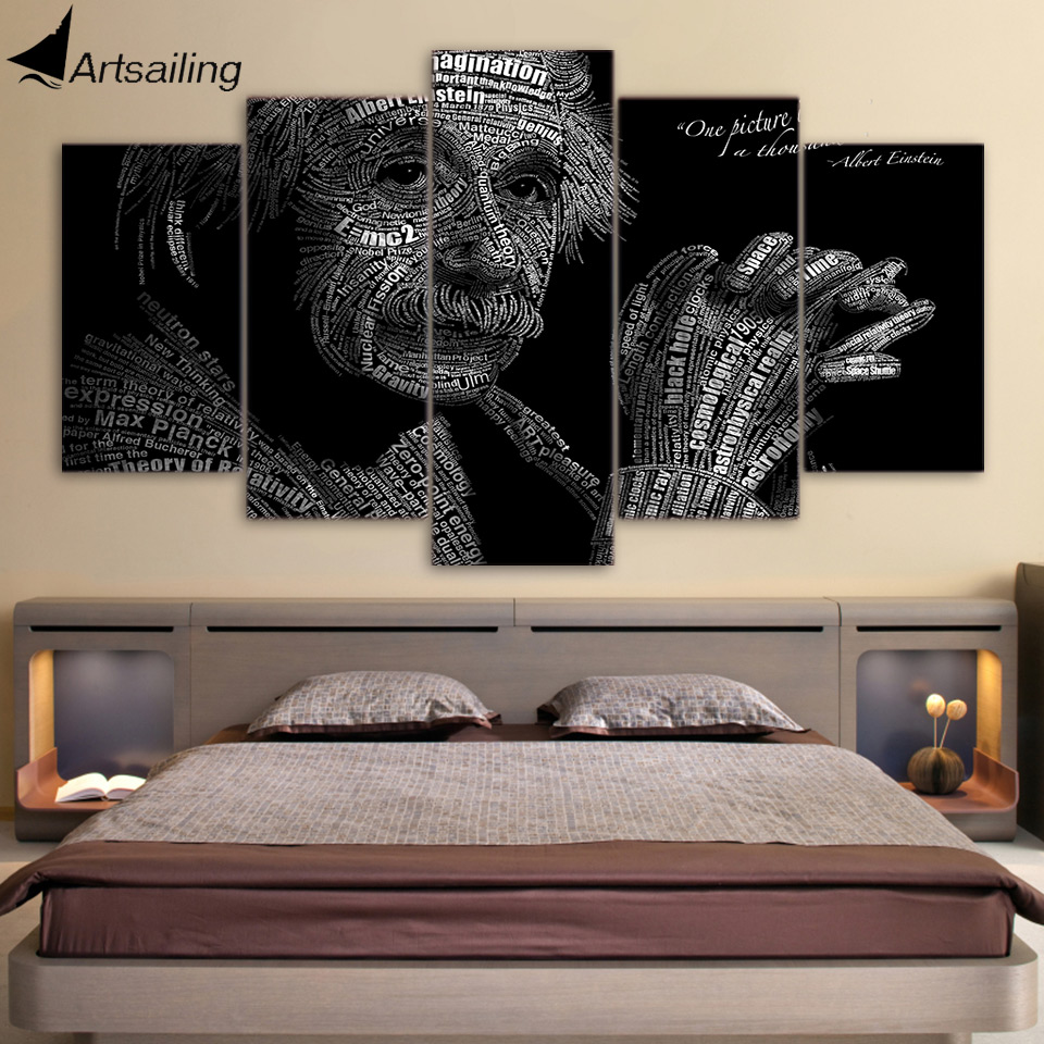 HD Printed 5 Piece Canvas Art Physics Equation Albert Einstein Painting Wall Pictures for Living Room Free Shipping ny-7433C no frame canvas
