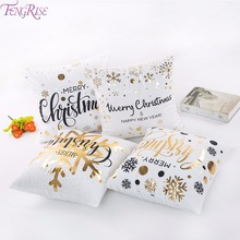 купить FENGRISE 45x45cm Cotton Linen Merry Christmas Pillow Case Christmas Decorations for Home Happy New Year Decor 2019 Xmas Gifts дешево