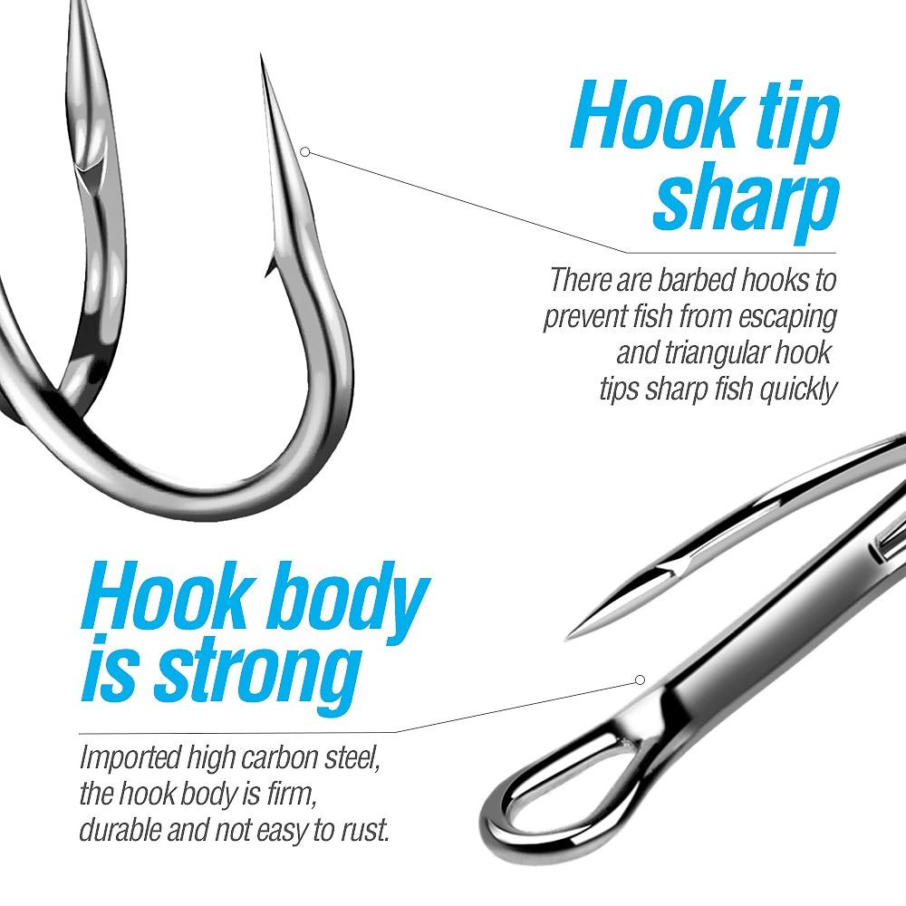 DONQL 20pcs Box Treble Fishing Hooks Set Carbon Steel Barbed Fishhooks Super Sharp Triple Hooks Sea Tackle Accessories          (12)