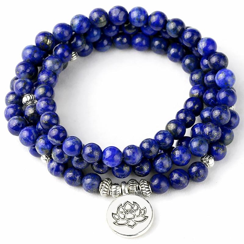 108 mala pulseira contas de oração natural lapis lazuli contas meditação mala contas pulseira de cura tibetano masculino jóias não se desvanece