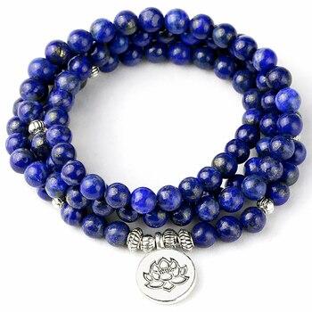 Bracelet Mala pour hommes perles de pri re naturelles en lapis lazuli perles de m ditation
