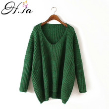 H.SA Womens Pull Sweaters Jumpers Vneck Cheap Winter Casual Knitting Pullovers Oversize Batwing Long Sleeve Tops pull femme 2017