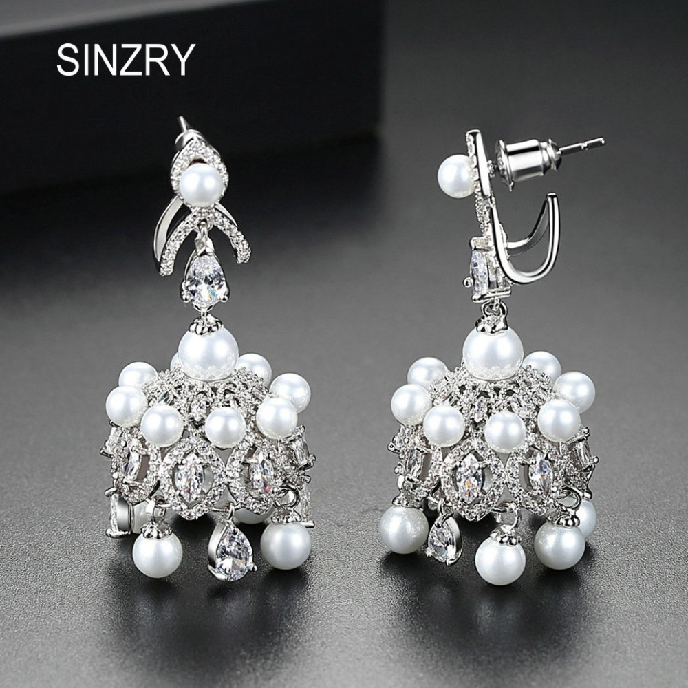 Sinzry 2018 Windbell Quaste Ohrringe Zirkonia Imitation Perle Braut