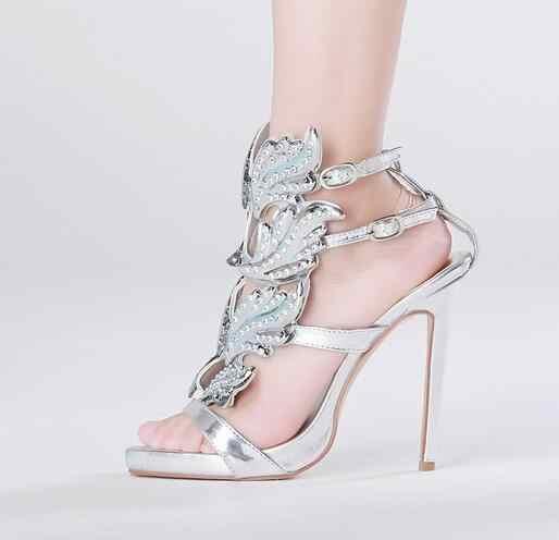 מותג 2017 עלים גבישים מקסימים lttl מתכתי מכונף גלדיאטור סנדלי נשים עקבים גבוהים zapatos mujer sandalias אישה משאבות