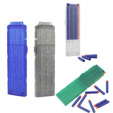 Newest 20 Reload Clip Magazines Round Darts Replacement Plastic Toy Gun Soft Bullet - Transparent Blue
