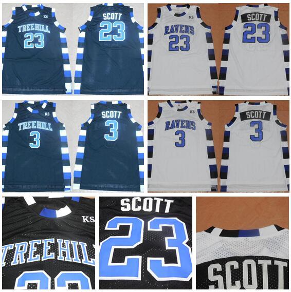 33008f2a69f High 3 Lucas Scott Jersey College One Tree Hill Basketball Jersey Nathan  Scott Shirt 23 Movie Black White Blue Free Shippping