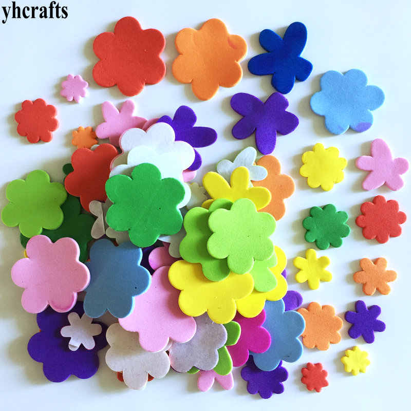 60PCS/LOT Mix flower foam stickers Wall decoration Early educational toys kindergarten craft Color learning Creative fancy DIY