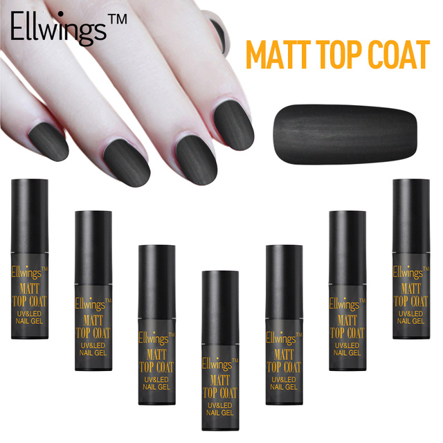Ellwings Mate Top Coat Nail Imprimación Empapa de UV Semi Permanente ...