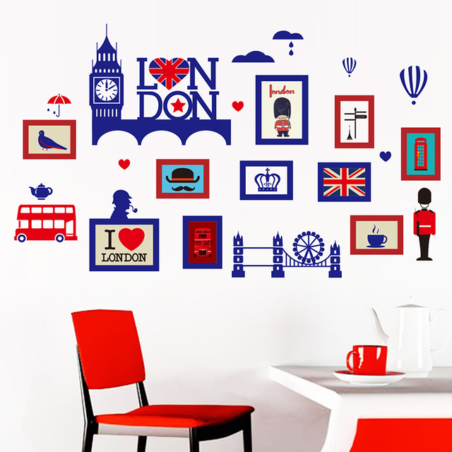 Shijuehezi Europe Style Photo Frame Wall Stickers Vinyl Diy London