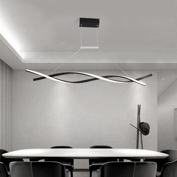Candelabro colgante moderno LICAN para comedor de oficina cocina Lustre de onda de aluminio Avize candelabro moderno accesorios de iluminación