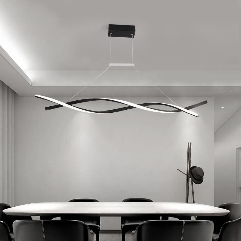 LICAN Modern Pendant Chandelier For Office Dining Room Kitchen Aluminum Wave Lustre Avize Modern Chandelier Lighting Fixtures