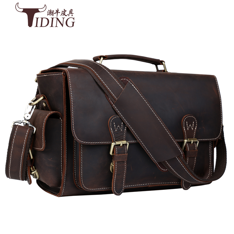 New Crazy Horse Genuine Leather Men Classic Briefcase Handbag Shoulder Bussiness  Laptop Notebook Bags Camera Bags crossbody bag vintage genuine leather men briefcase bag business men s laptop notebook high quality crazy horse leather handbag shoulder bags