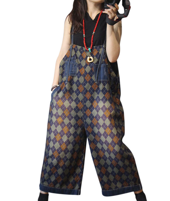 08cb4d867c YESNO PED Women Casual Loose Plaid Jumpsuits Romper Denim Overalls 100%  Cotton Distressed Wide Leg Pocket