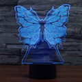 3D Illusion LED Night Light Cartoon Butterfly Color Changing Colorful Atmosphere Desk Lamp Novelty Lighting for Home Room Decor