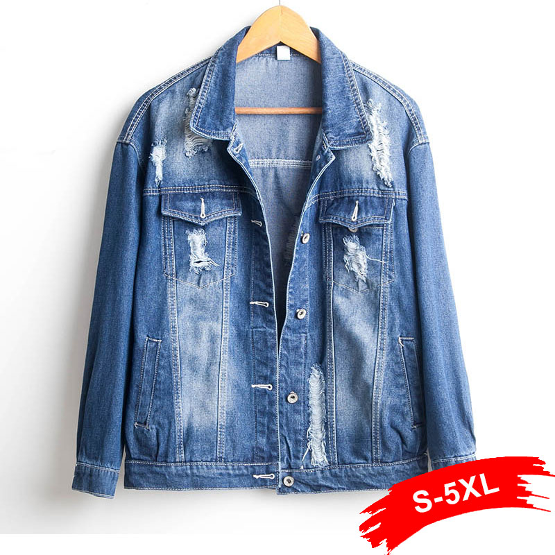 Plus Size Spring Oversized Ripped Hole Denim   Jacket   4Xl 5Xl Long Sleeve Casual Loose   Basic   Jeans Coat Women Large SizeTops Coats