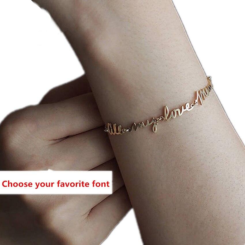 Personlaized 3 Names Bracelet Custom Handwriting Signature Charm Bracelet Women Jewelry Stainless Steel Pulseras Mujer Gifts