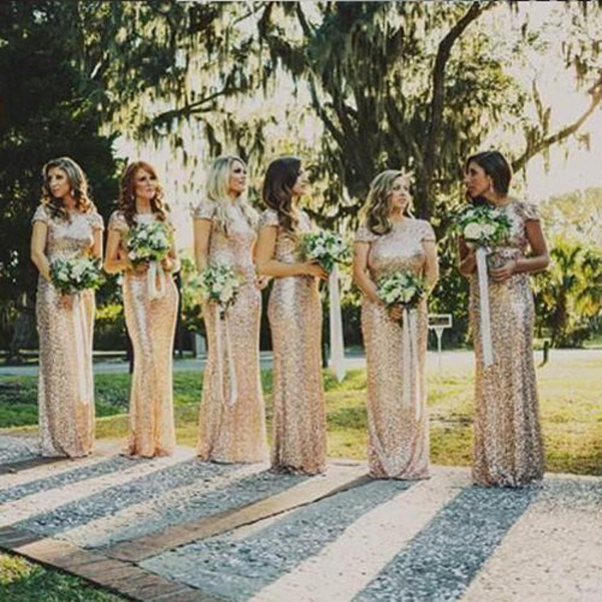 Champagne Gold Sequin Bridesmaid Dresses Mermaid Sexy Backless 2017 Hot  Long Wedding Party Dress vestidos de festa vestido longo-in Bridesmaid  Dresses from ... 6e3e56a47415