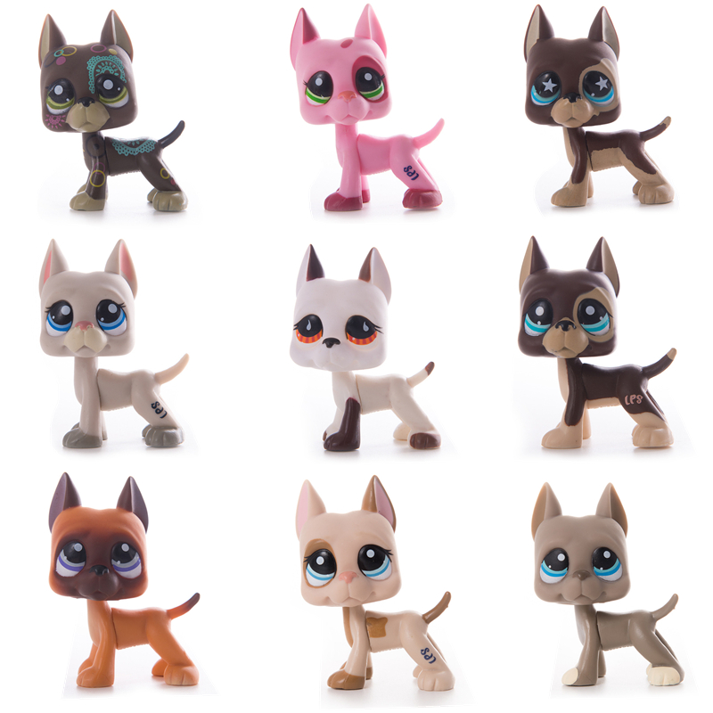 Lps Pet Shop Toys Great Dane Cocker Spaniel Dog Short Hair Cat Black Pink White Lps Action Figure Model Toy For Children Gift