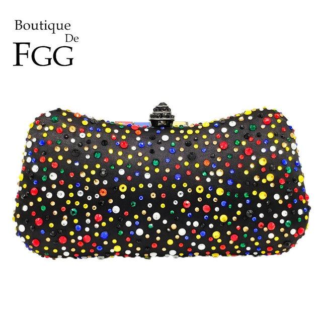 Boutique De FGG Multicoloridas Mulheres Negras de Cetim Noite de Cristal Sacos De Embreagem Caso Difícil Bolsa Bolsa de Ombro Corrente de Metal