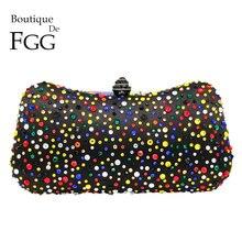 50ba9ee50a Boutique De FGG Multicolore Delle Donne di Nero In Raso di Cristallo Da  Sera Sacchetti di. 8 Colore