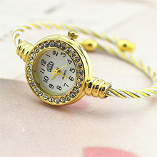 Brief women's watch small dial metal chain rose gold female table
