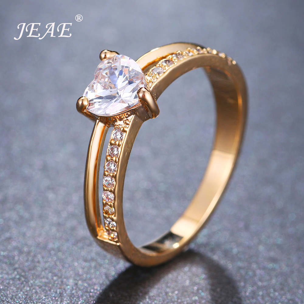 JEAE мода в форме сердца циркония Promise Ring для Для женщин цвета: золотистый, серебристый свадебные Обручение кольца Bijoux аксессуары Love подарки