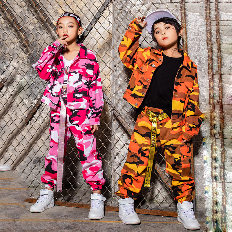 Hip Hop Costume Girls Jazz Dance Costumes For Kids Pink Orange Camouflage Jacket Pants Boys Street Dancing Clothes Show DN2591