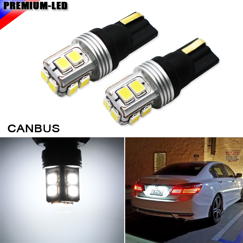 2pcs Super Bright Canbus No Error SMD3030 T10 W5W 168 194 Car LED Reading Mirror License Plate Width light,6000K Xenon White cawanerl car canbus led package kit 2835 smd white interior dome map cargo license plate light for audi tt tts 8j 2007 2012