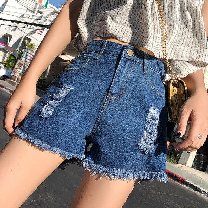 2019 Denim Shorts Female Summer High Waist New Style Student Shorts Slim Fashion Shorts Versatile Distressed Hole Shortses
