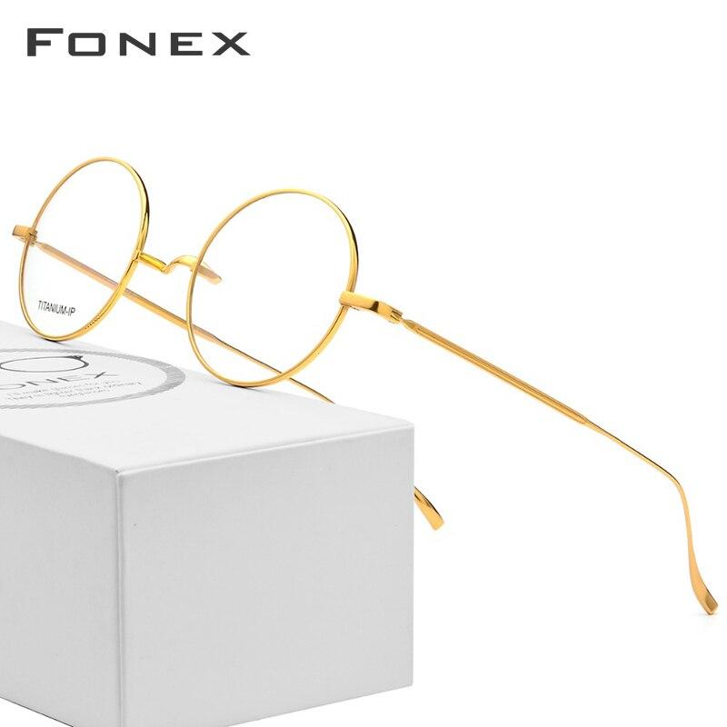 B Óculos De Titânio Quadro Homens Ultraleves Retro Mulheres Rodada Óculos de Prescrição Óptica Óculos de Miopia Do Vintage