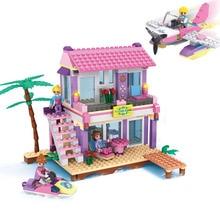 COGO Girls Educational Building Blocks Toys For Children Kids Gifts Boat Plane House Friends Compatible With Legoe Bricks 423pcs