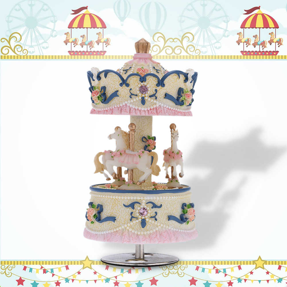Carousel Horse Music Box Rotating Carousel Windup Music Box Melody of Castle in The Sky Artware Birthday Valentine Gift
