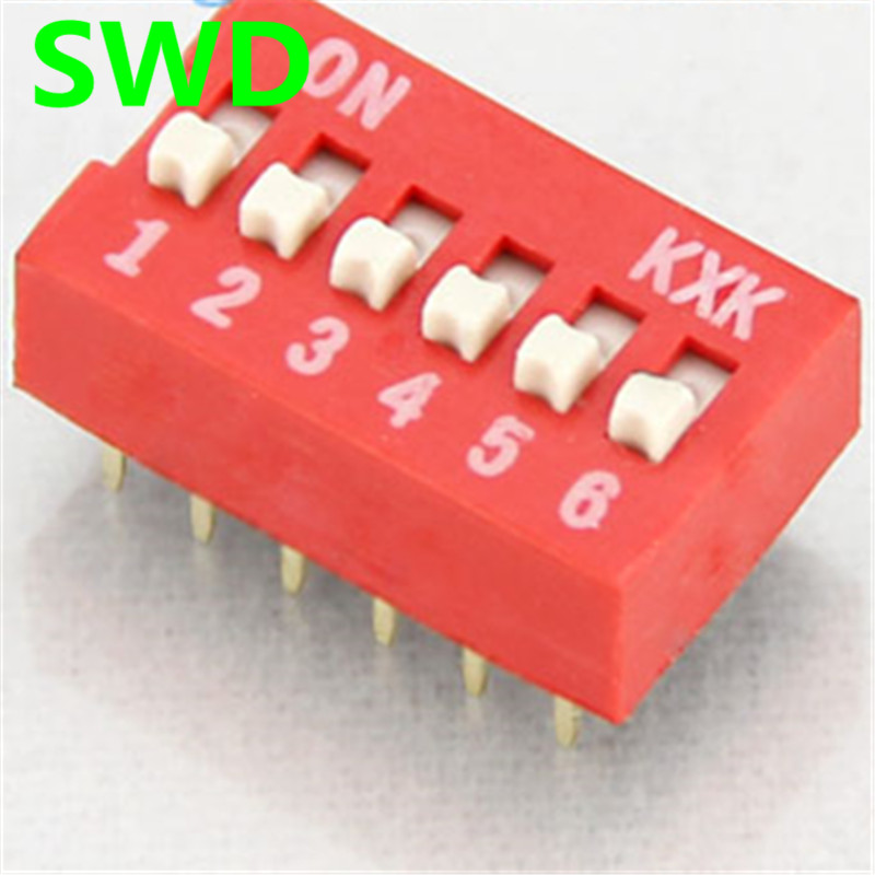10PCS/Lot DIP Switch 6 Way 2.54mm Toggle Switch Red Snap Switch